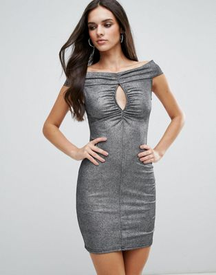 Love Ruched Front Bardot Dress