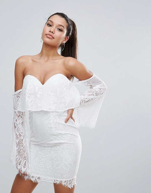 Love Triangle All over Lace Off Shoulder Pencil Dress With Fluted Sleeve Detail
