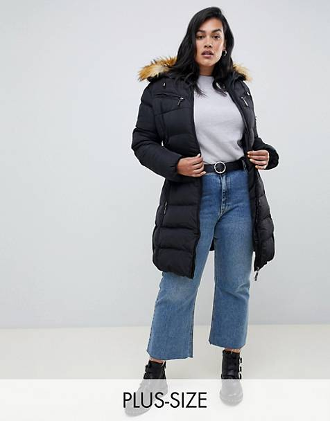Lovedrobe Long Quilted Coat With Contrast Faux Fur Trim