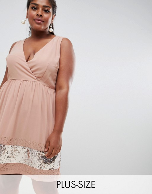 Image 1 of Lovedrobe Lux wrap skater dress with embellished hem
