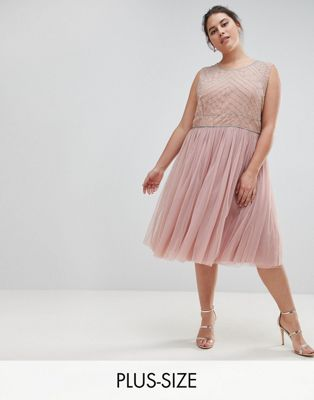 Lovedrobe Luxe Embellished Dress With Tulle Skirt