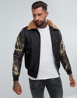 Luke 1977 Billy Biggles Faux Shearling Collar Bomber Jacket in Black