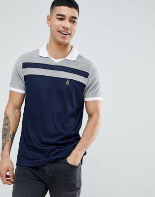 Luke Sport - Away - Polo in spugna con colletto stile football blu navy/grigio