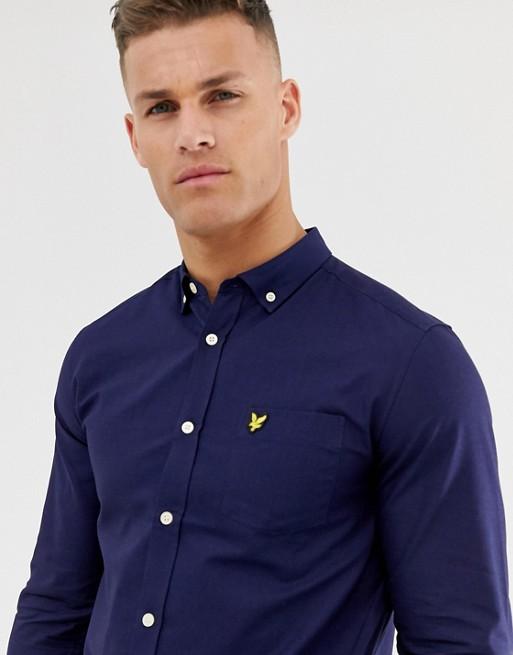Lyle & Scott - Chemise Oxford à manches longues avec logo - Bleu marine