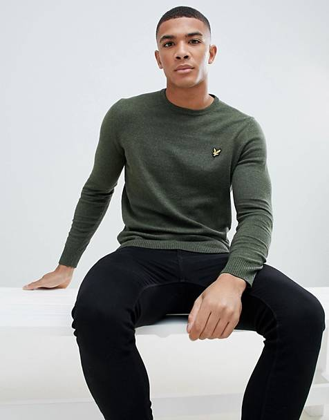 Lyle & Scott merino crew neck sweater in khaki