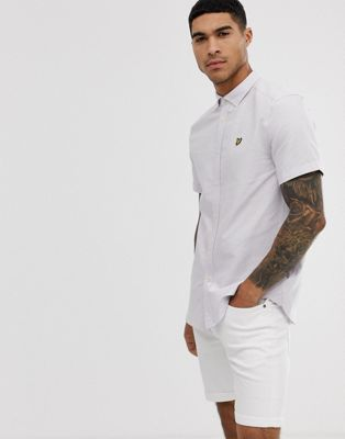 Image 1 of Lyle & Scott short sleeve oxford shirt in lilac