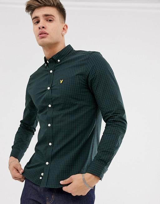 Lyle & Scott – Svart och grön, ginghamrutig skjorta med knäppning och smal passform