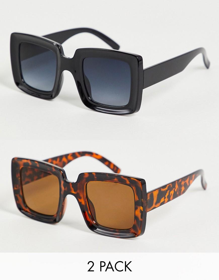 2 pack square lens sunglasses-Multi