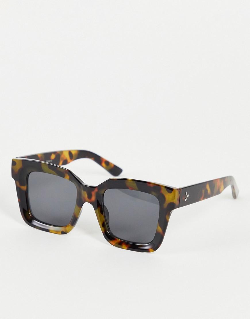 chunky tortoise shell sunglasses-Brown