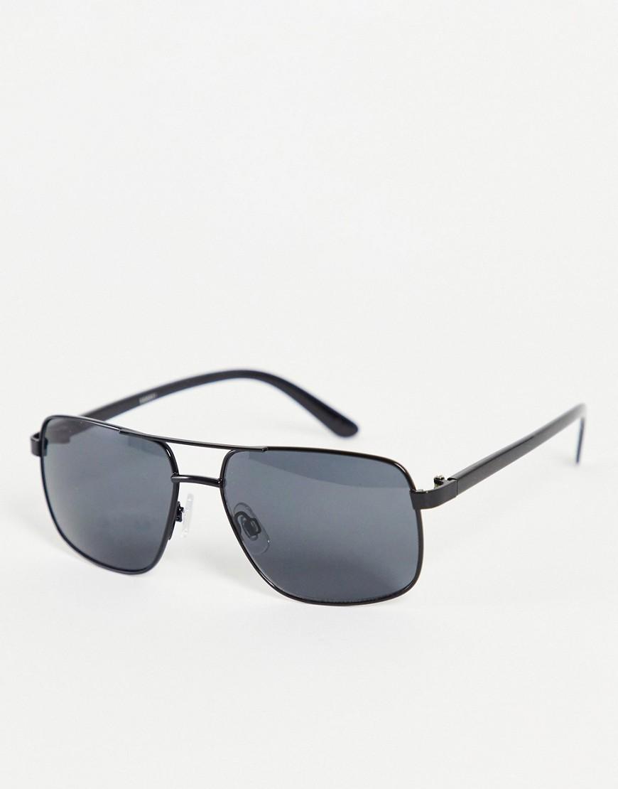 double brow square sunglasses-Black