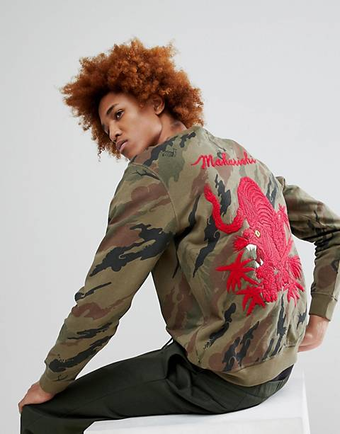 Maharishi Camo Tiger Back Embroidered Crew Neck Sweatshirt