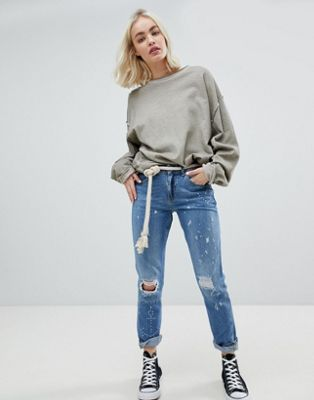 Maison Scotch Bandit Blauw Me Boyfriend Distressed Jeans