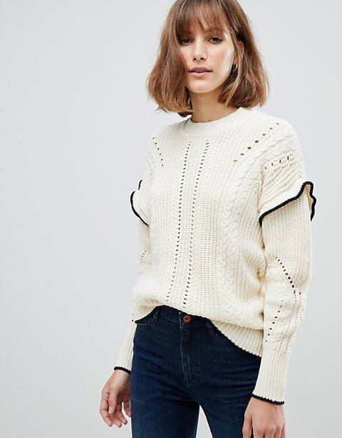 Maison Scotch Cable Knit Sweater with Ruffles