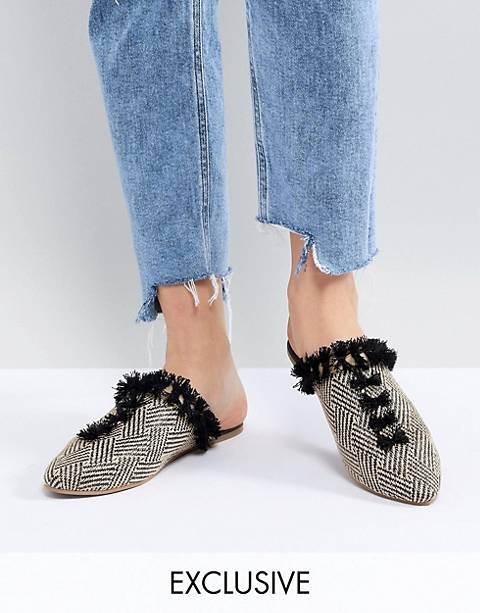 Maison Scotch Exclusive Slipper Shoes In Canvas And Tassles