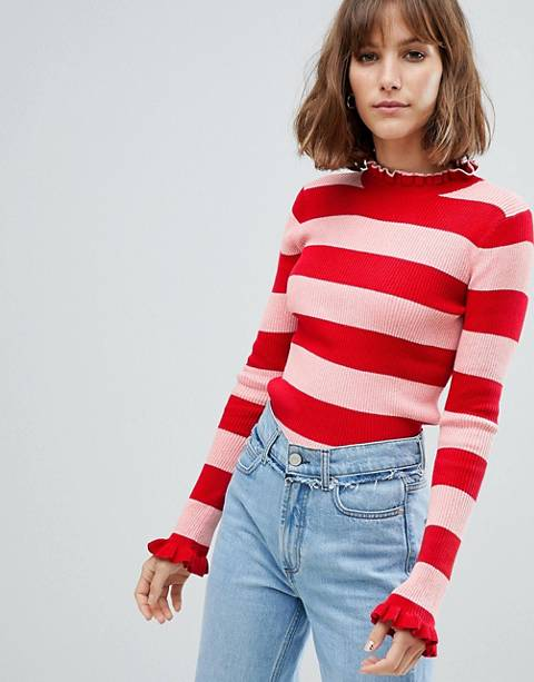 Maison Scotch Fitted Rib Knit Stripe Sweater with Ruffle Hems