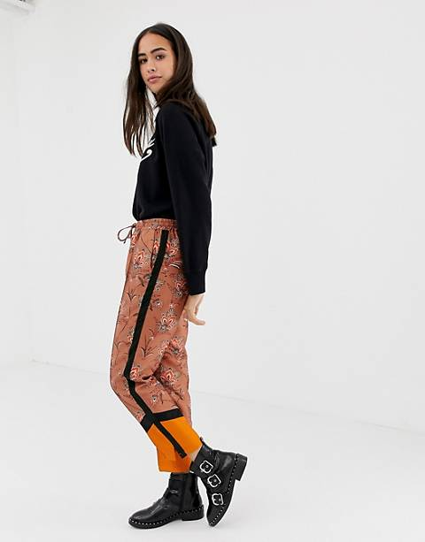 Maison Scotch floral and contrast panel print pants