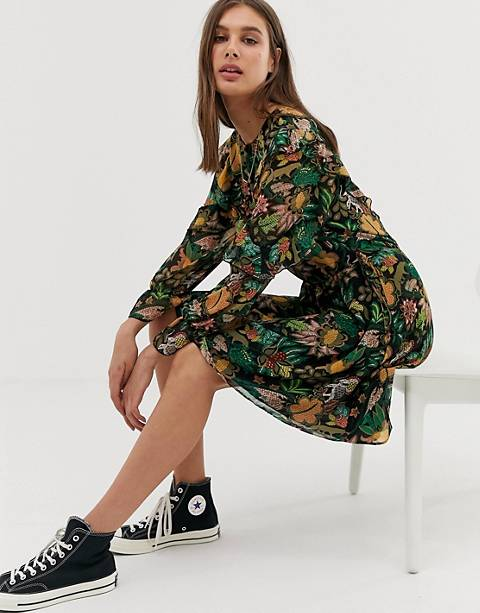 Maison Scotch leaf print ruffle dress