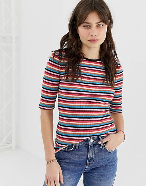 Maison Scotch Rainbow Ripped Stripe T-Shirt