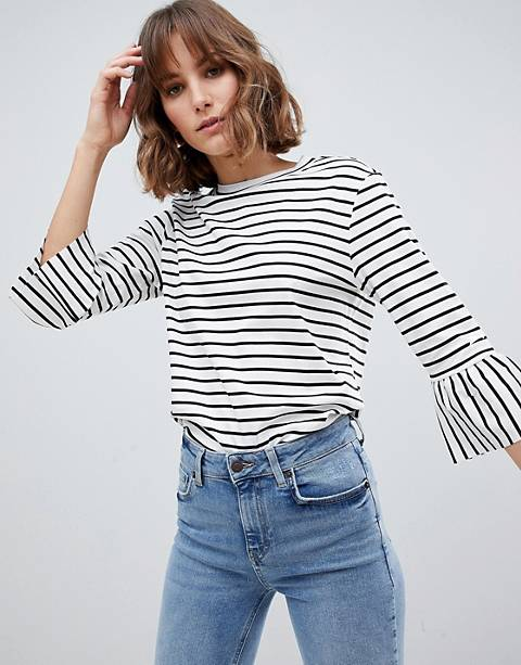 Maison Scotch Stripe Top with Ruffle Sleeves
