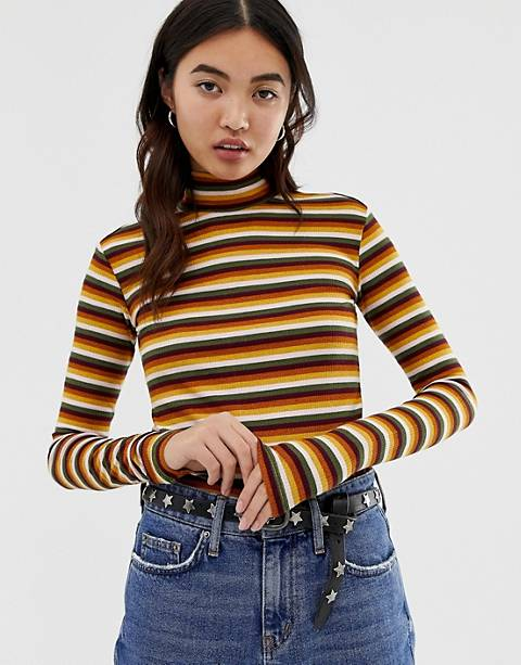 Maison Scotch striped roll neck long sleeved top