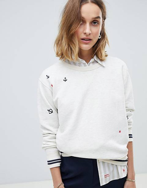 Maison Scotch Vintage Inspo Sweat with Embroidered Patches