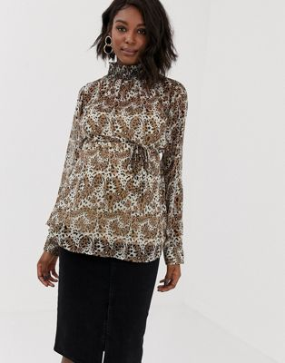 Image 1 of Mamalicious animal printed high neck top