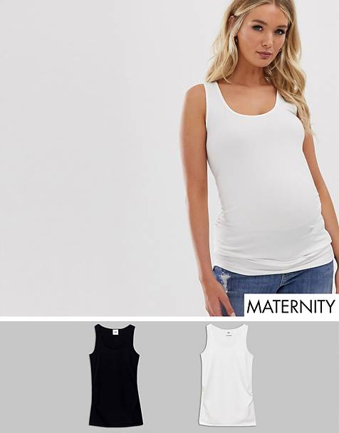 Mamalicious maternity 2 pack basic tank in organic cotton