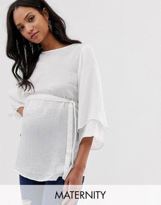 Image 1 of Mamalicious maternity fluted sleeve blouse