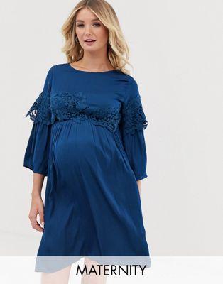 Image 1 of Mamalicious maternity lace detail mini dress
