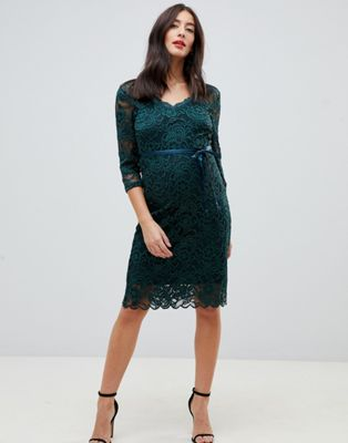 Mamalicious maternity lace midi dress in green