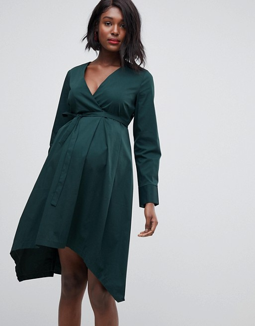 Mamalicious maternity organic cotton v neck dress