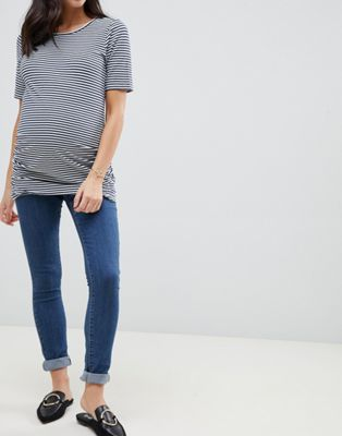 Image 1 of Mamalicious maternity over bump band slim jeans in blue