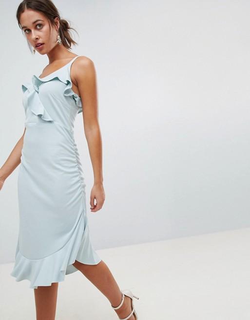 Mamalicious nursing frill midi dress in blue