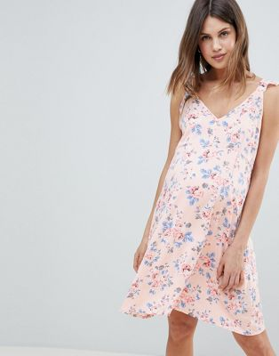 Mamalicious Soft Floral Cami Dress With Ruffle Strap