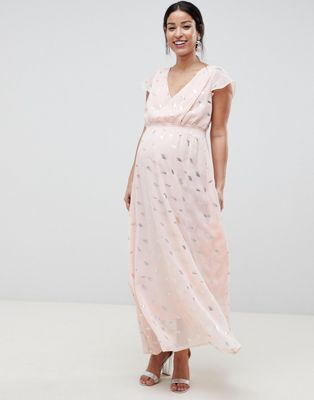 Mamalicious Wrap Maxi Dress With Metallic Print
