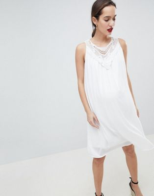 Mamalicous Sleeveless Lace Insert Woven Dress