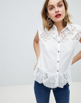 Mango broderie peplum shirt in white