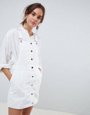 Mango button through dungaree dress in white