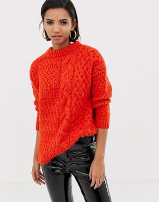 Image 1 of Mango cable oversized sweater in orange