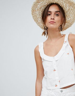 Mango cherry print crop cami button through in white