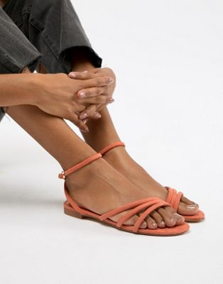 Mango faux suede strappy sandal in orange