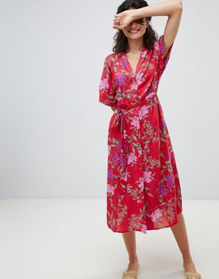 Mango Floral Midi Wrap Dress