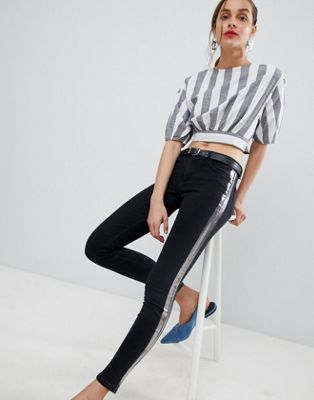 Mango foil stripe jeans in black