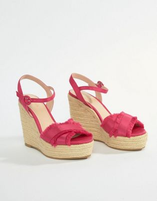 Mango fray detail espadrille wedge in pink