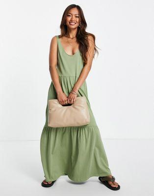 Mango – Gestuftes Hängerkleid in Khaki mit Rundhalsausschnitt-Grün