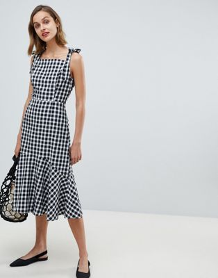 Mango gingham midi dress in black white check