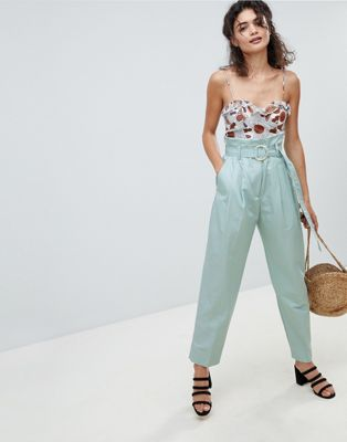 Mango high waist peg leg trouser in blue
