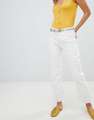 Mango kick flare contrast stitch jeans in white
