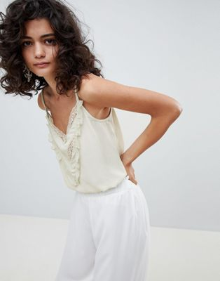 Mango lace and ruffle cami top in pale green