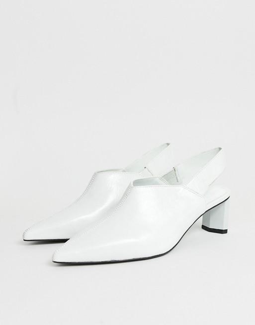 Image 1 of Mango leather sling back shoe on setback heel in white